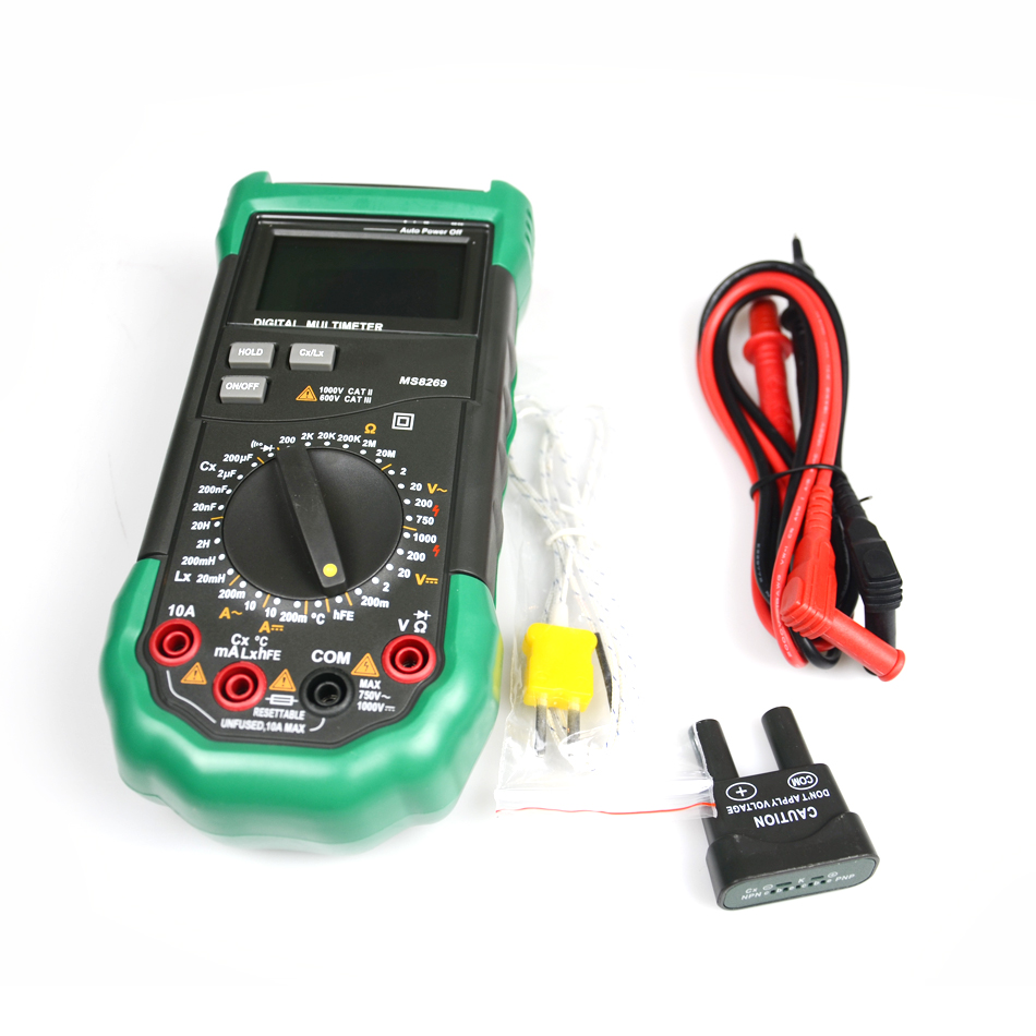 MS8269 3 1/2 Digital Multimeter LCR Meter AC/DC Voltage Current Resistance Capacitance Temperature Inductance Test mastech ms8260e digital multimeter lcr meter ac dc voltage current capacitance inductance tester with non contact voltage test