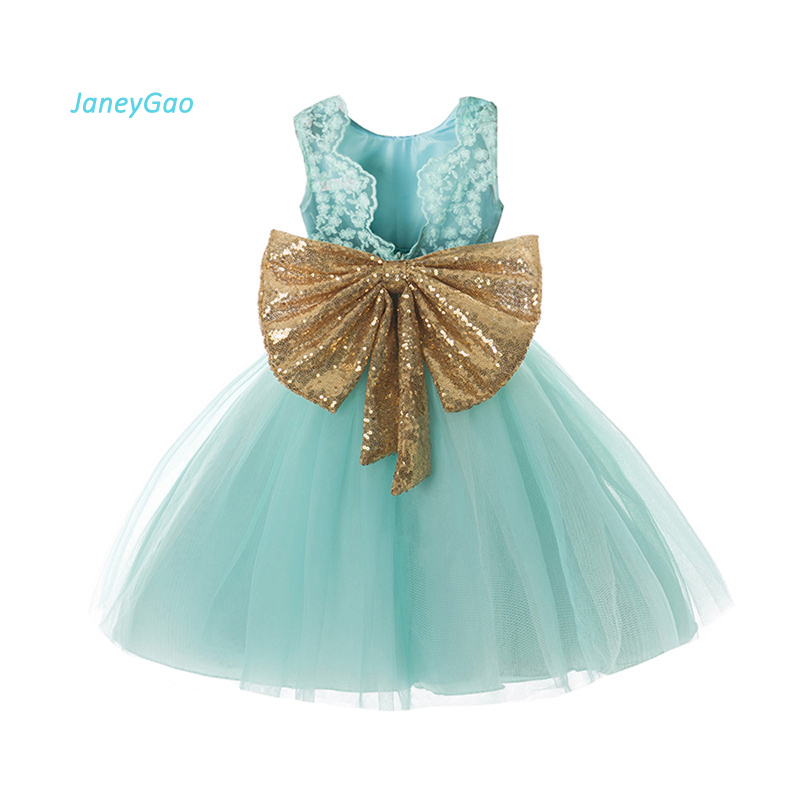 JaneyGao   Flower     Girl     Dresses   For Little   Girl   Wedding Party Prom Lace Bow   Girl   Birthday Tulle Pageant   Dress   Fresh Green Vestido