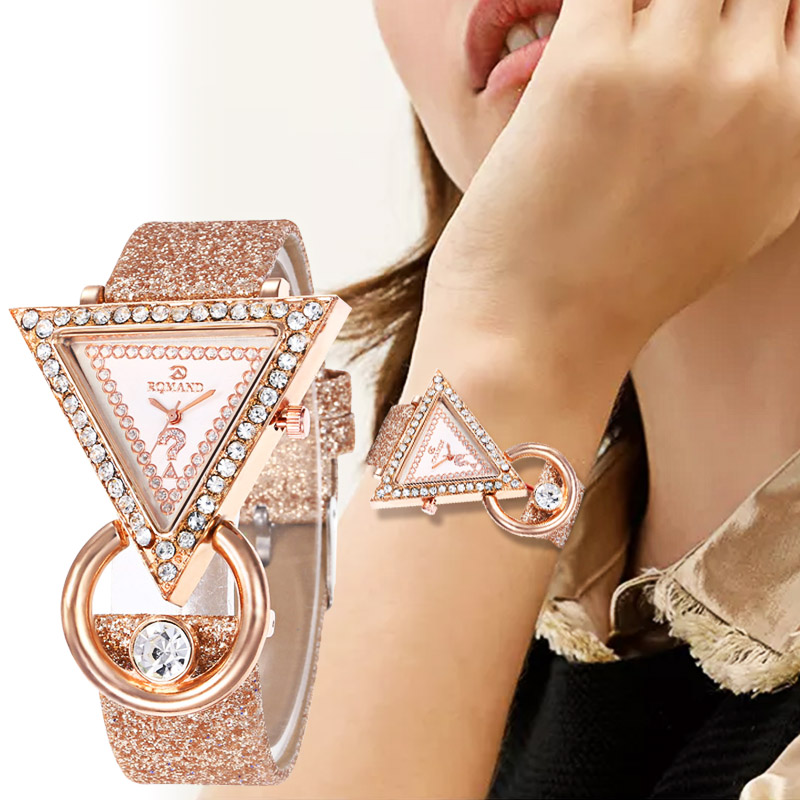 WJ-8553 Ladies Gift Watch Women's Casual Quartz Leather Band New Strap Watch Triangle Wrist Watch Clock Gift Reloj Femenino