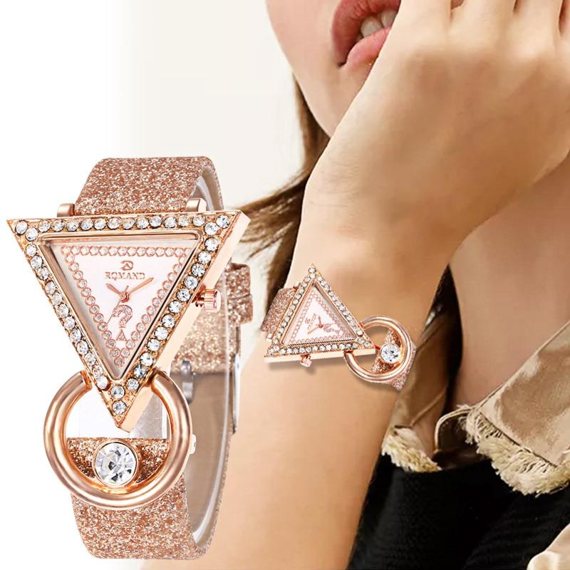 WJ-8553 Ladies Gift Watch Women's Casual Quartz Leather Band New Strap Watch Triangle Wrist Watch Clock Gift Reloj Femenino