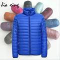 Jaqueta de Inverno dos homens Da Moda Pato Branco Para Baixo Homens Jaqueta de Luz Ultra Fino Parka Outerwear Plus Size 4XL