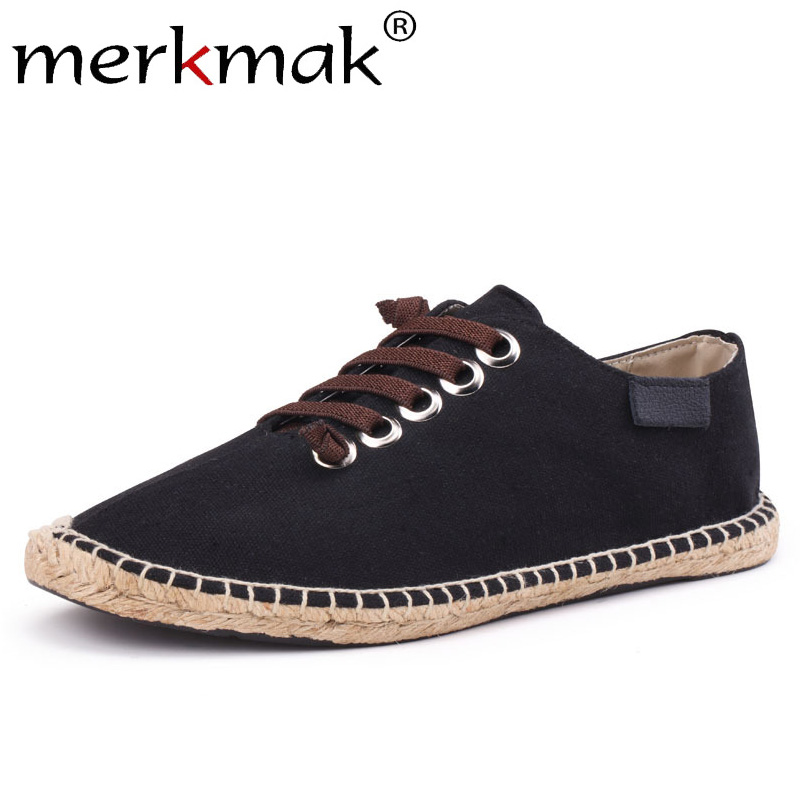 Merkmak Shoes Men Men's Loafers Moccasins Comfortable Flat Casual Summer Mesh Lace-Up