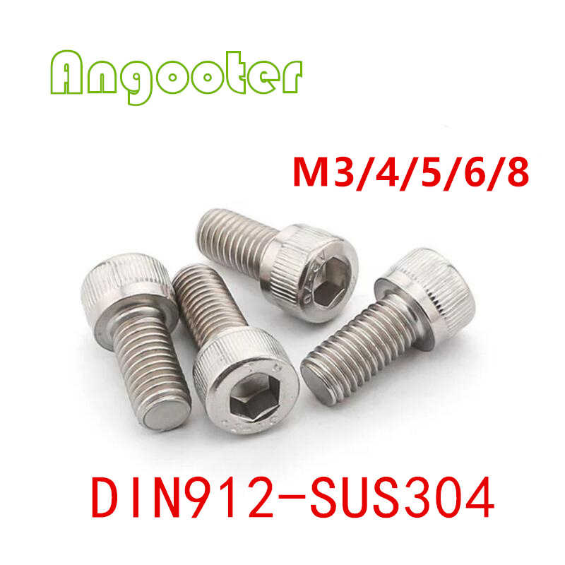 50-100 pcs DIN912 M3 M4 M5 M6 M8 * 4-50mm Metric Tópico Aço Inoxidável 304 hex Parafusos de Cabeça de Soquete Parafuso