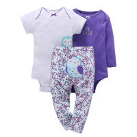 100 Cotton 2017 New Baby Boy Girl Clothes Set Kids Bebes Girl Purple Owl 3pcs Clothing
