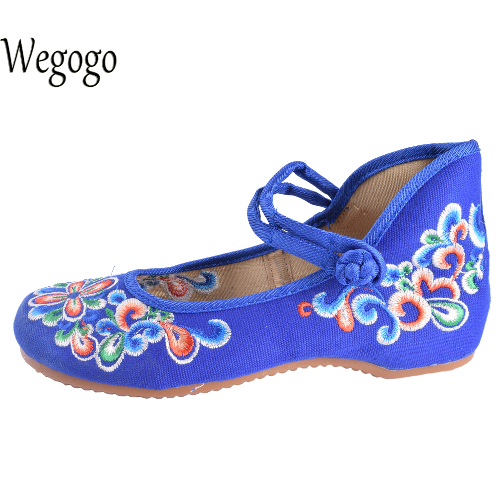 Wegogo Canvas Women Casual Shoes Embroidery National Casual Flat Shoe Embroidered Travel Shoes Flats Sapato Feminino Bordado summer women shoes casual cutouts lace canvas shoes hollow floral breathable platform flat shoe sapato feminino lace sandals