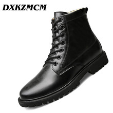 DXKZMCM Autumn Winter Men Boots Vintage Style Casual Men Shoes Lace-Up Warm Martin Boots