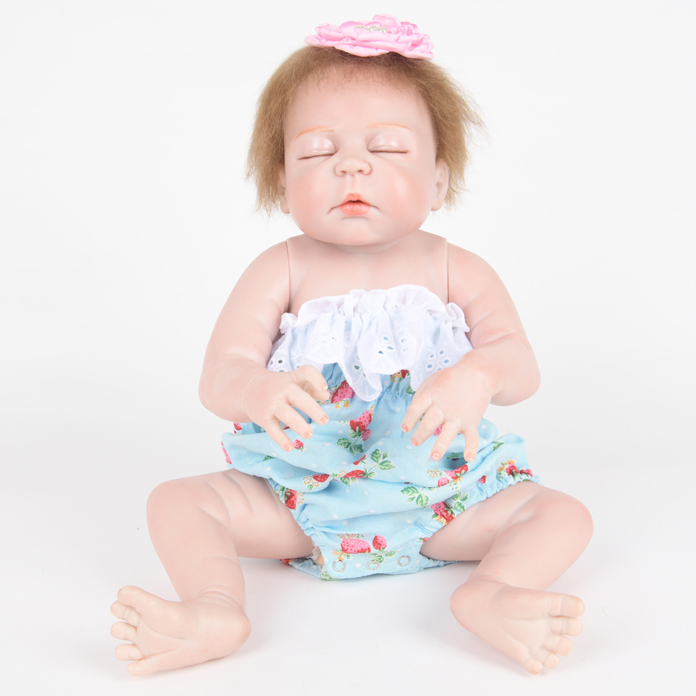 55cm Soft Full Silicone Reborn Baby Doll Lifelike Newborn Sleeping Girl Dolls for Children Kids Toy Birthday Xmas New Year Gift 22 inch soft full silicone vinyl reborn baby doll lovely sleeping girl dolls for children kids toy birthday xmas new year gift