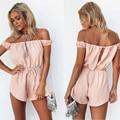 2016 Новый горячий мода женщин с плеча розовый комбинезон случайный комбинезон и ползунки