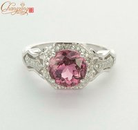 SOLID 14KT WHITE GOLD NATURAL IF PINK TOURMALINE DIAMOND ENGAGEMENT RING