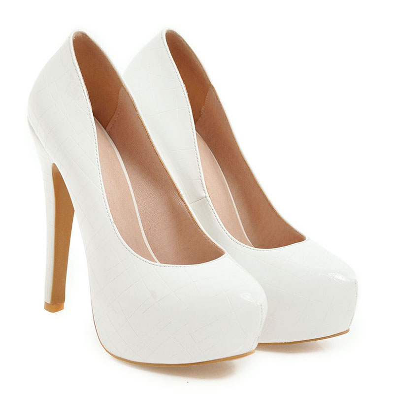 US $30.77 45% OFF|Lasyarrow Brand Shoes Woman Stilettos Heel Pumps High Heel Platform Round Toe Shallow Mouth Large Size 47 47 Ladies Shoes RM318 in