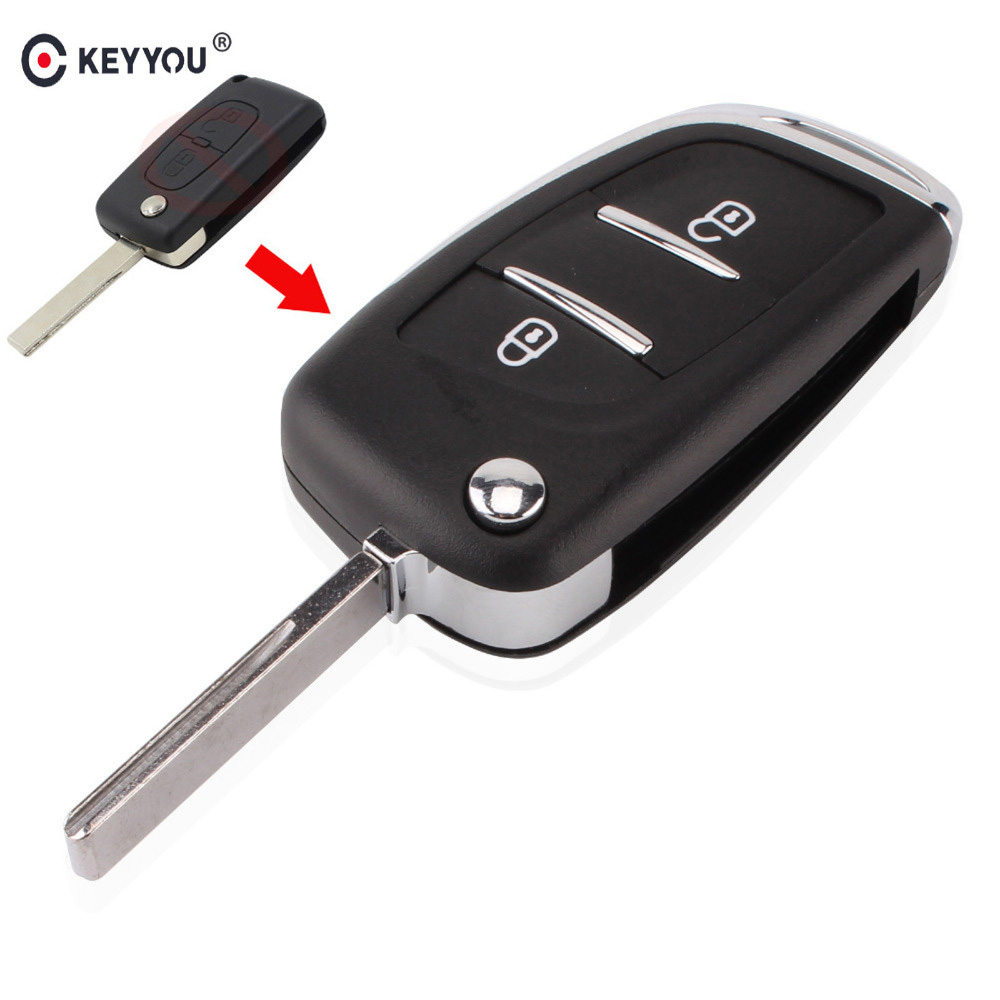 KEYYOU 2 Buttons Modified Flip Folding Remote Key Shell Case  For Peugeot 107 207 307 307S 308 407 607 2BT DKT0269 replacement folding key case shell for vw golf 7 no chip for volkswagen remote keyless shell auto parts key case with blade