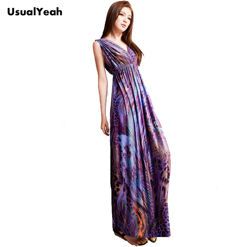 Aliexpress Women Y Maxi Beach Dress Purple Pea Totem Bohemian Sleeveless Dresses New Fashion Empire Waist From Reliable