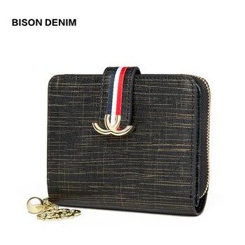 47b4b7e5862c Бизон джинсовый из натуральной кожи Для женщин кошелек женский кошелек для  монет на молнии Держатель для карт дорожный кошелек carteira feminina .