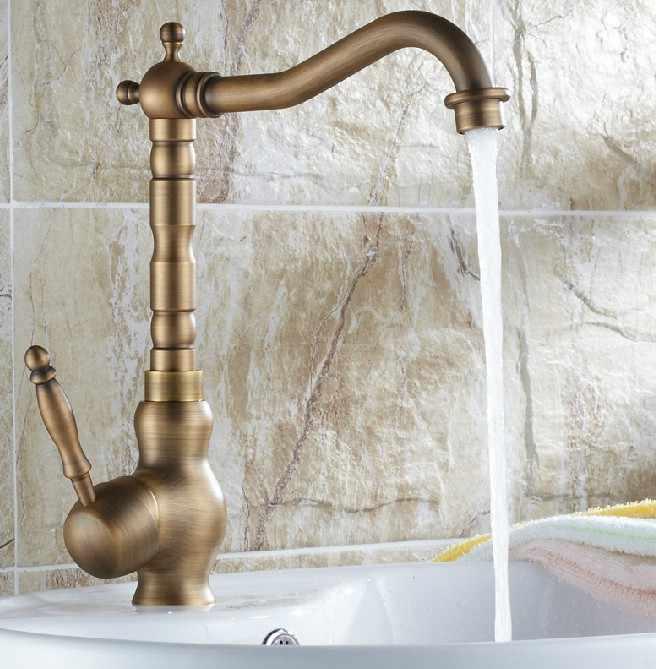 Retro Vintage Antique Brass Único Punho Um Buraco Do Banheiro Cozinha Bacia Sink Faucet Tap Mixer Bica Giratória Deck Montado msf012