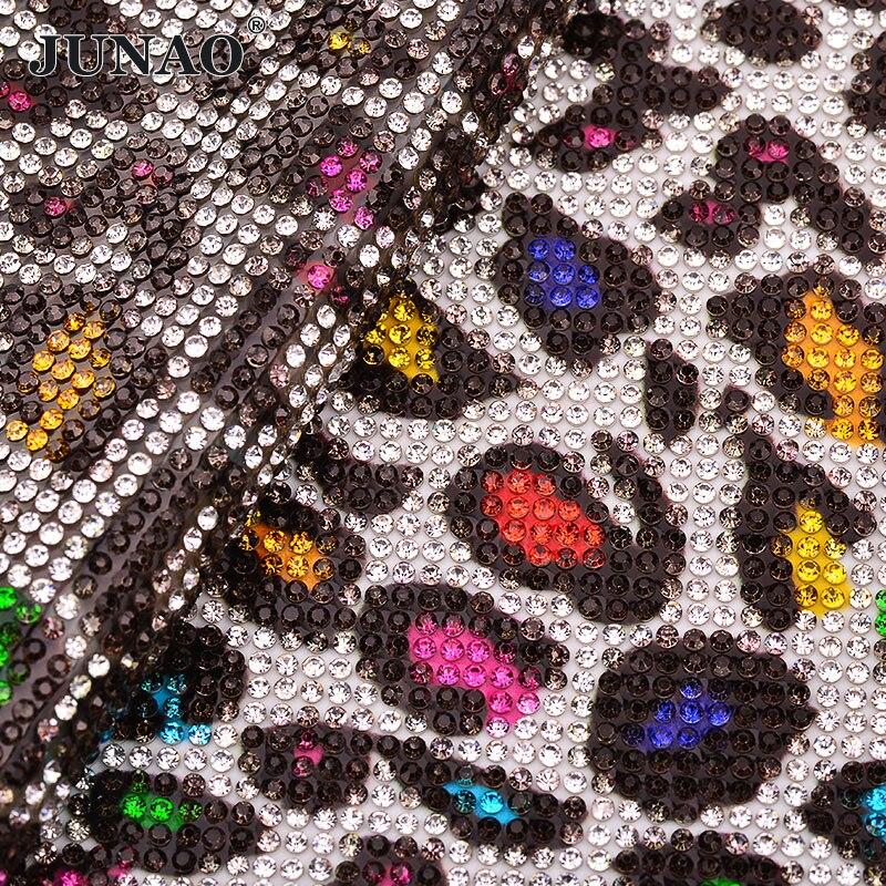 Detail Feedback Questions about JUNAO 24x40cm Leopard Print Crystal Mesh  Self Adhesive Rhinestones Trim Glass Stones Fabric Strass Sheet for Dress  Trim ... f4c951da4e5c