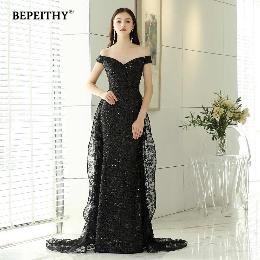 BEPEITHY New Design Black Lace Long Evening Dresses Party Elegant 2019 Robe De Soiree Mermaid Prom Dress With Lace Skirt-in Evening Dresses from Weddings & Events