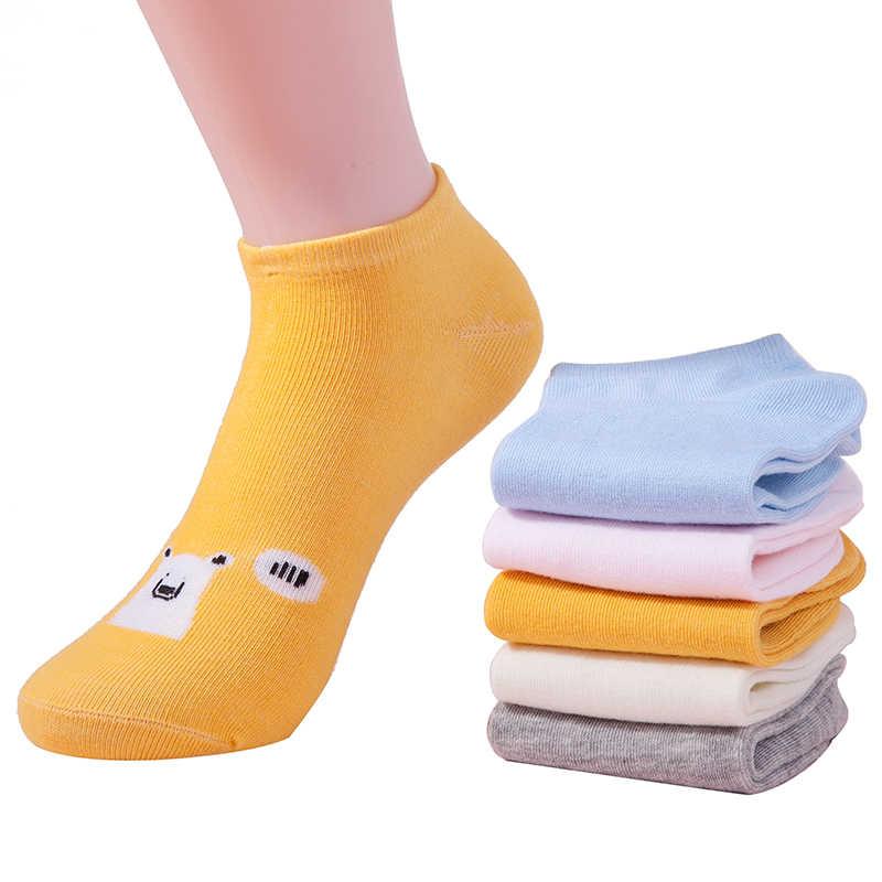 5 צבעים נשים גרבי בנות חמוד דוב סירת גרבי אופנה ליידי אביב ובקיץ קצר מקרית קרסול גרבי סגנון חדש dropshipping