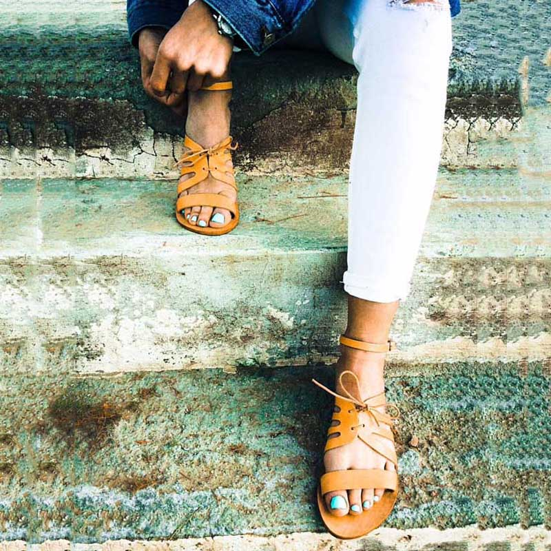 Noir Cuir Gladiateur Femmes Plat Chaussures orange Up D'été Noir Casual En Dame Plage À Pour De Femelle Main Sandales La Dentelle rxgnzwrq8