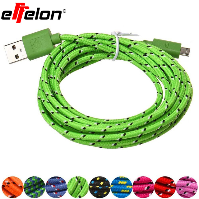 Effelon 1M/2M/3M Braided Wire Micro USB Cable 3ft Sync Nylon Woven Charger Cords For Samsung Galaxy S3 S4 S6 Blackberry SONY
