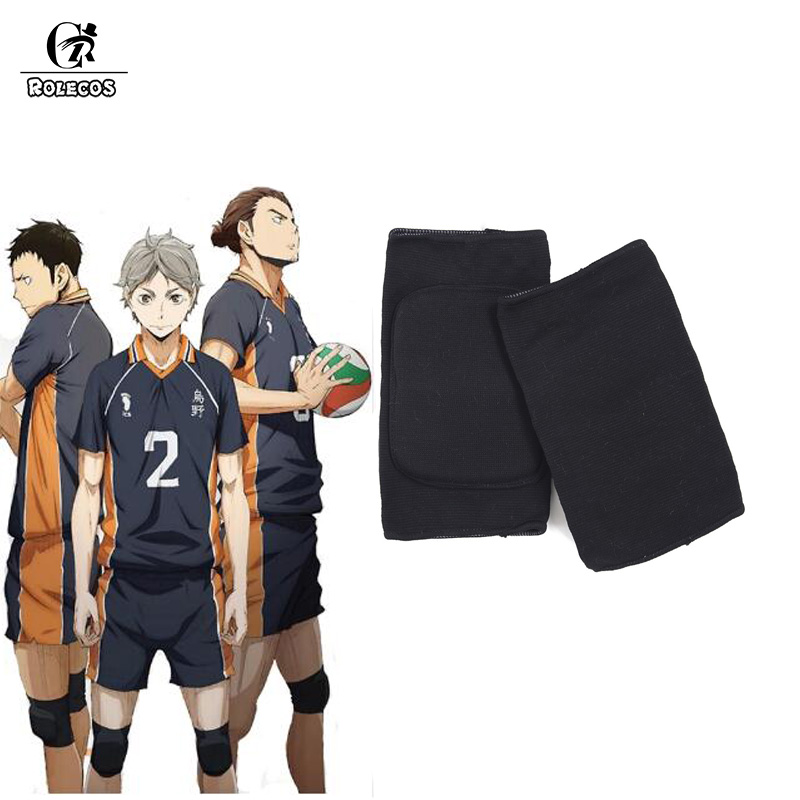 ROLECOS Anime Haikyuu Volleyball Hinata Shyouyou High School Cosplay Adjustable Sports Kneecap Support Brace Wrap Kneepad