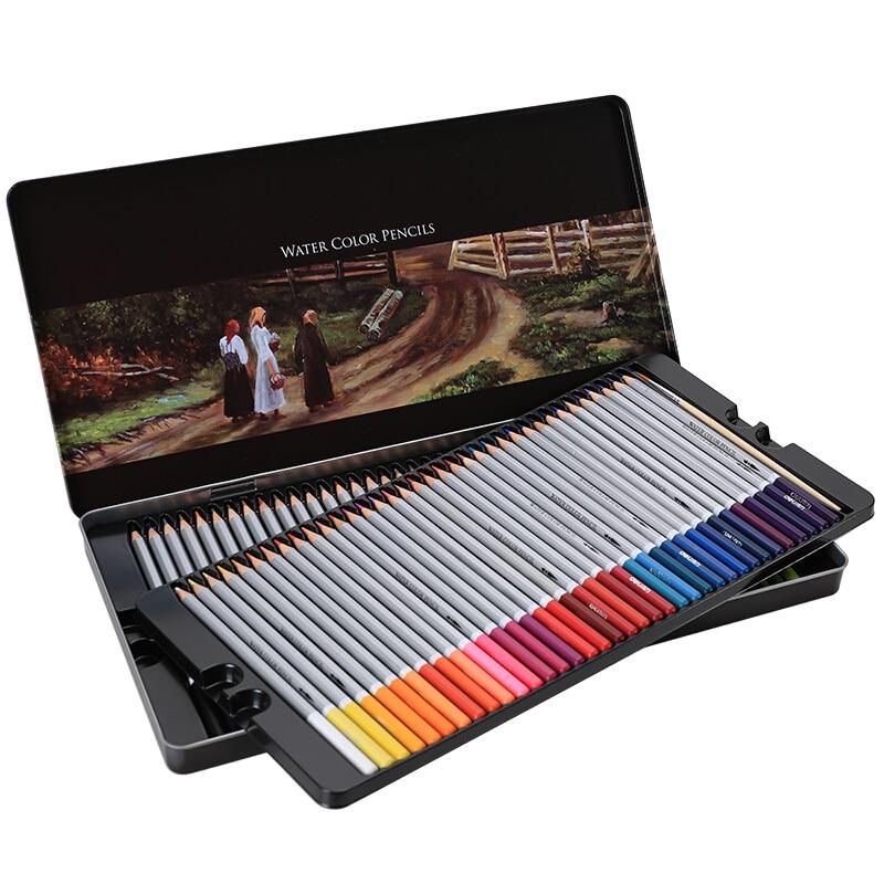 72 Pcs/lot aquarelle hydrosoluble crayons de couleur arc-en-ciel croquis coloriage professionnel artiste fournitures fer boîte ensemble 6524