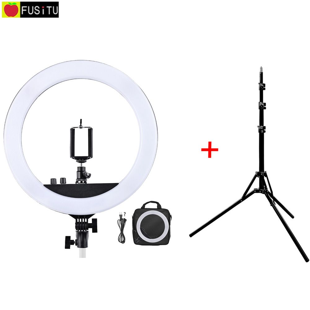 Fusitu RL-12 II 3200K-5500K Photography Studio Ring Light Lamp With Tripod Stand Lamp Light For Camera Photo Studio Phone Video 1pc 150w 220v 5500k e27 photo studio bulb video light photography daylight lamp for digital camera photography