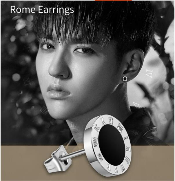 10 mm Mens Earrings Black Stainless Steel Roman numerals Stud Earrings For Men aretes de ...