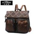 Cuero Retro mochila bolso de hombro capa de cuero escuela bolso hecho a mano de cuero genuino viajes mujeres mochila