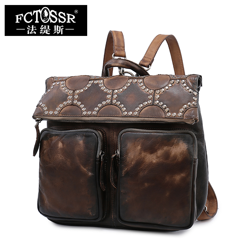 Retro Leather Backpack Women Shoulder Bag Layer of Leather Large Bag Hand Bag Genuine Leather Traveling Women Backpack new genuine leather women oil nubuck retro women backpack casual backpack casual shoulder bag bucket bag a4625