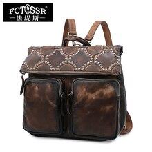 Ретро Кожаный Рюкзак Для женщин сумка Слои из кожи большой мешок руки Пояса из натуральной кожи путешествия Для женщин рюкзак
