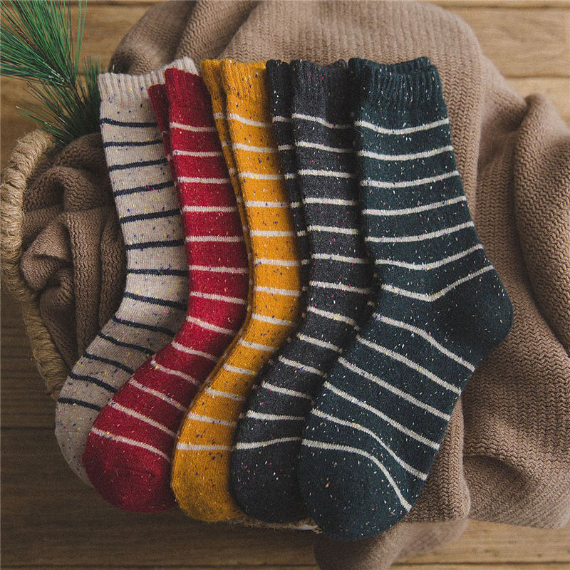 Wool Socks Women Striped Print Point Yarn Keep Warm Mid Socks Soft And Comfortable Thick Casual Lady's Socks Winter