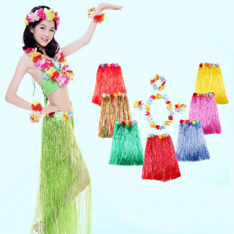42afe28e0c2f 5Pcs/ Set Plastic Fibers Women Grass Skirts Hula Skirt Hawaiian costumes  40CM Ladies Dress Up Festive & Party Supplies 3