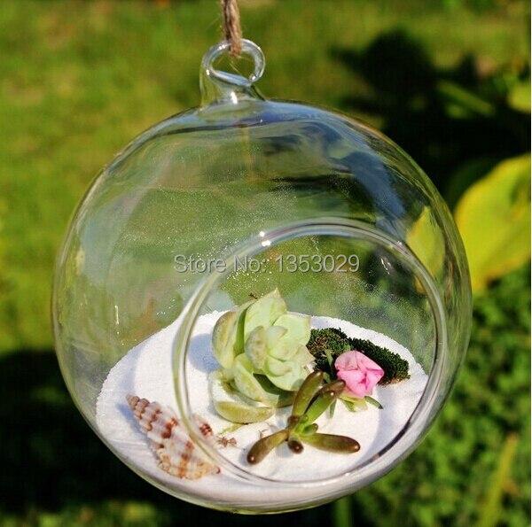 Free Shipping 10pcs/ lot  Diameter 8CM Wholesale Flat-bottomed Round Crystal Glass Vase Hanging Glass Plant Flower Vase Balls