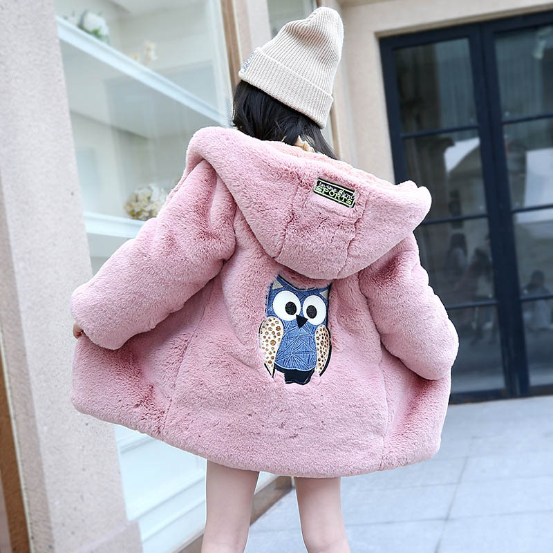 Winter Children Warm Jacket Girl Faux Fur Coat For Girls Thick Hooded Autumn Jackets For Girls 4 6 8 10 12 13 Kids Overcoat