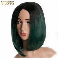 VERVES bob prosto Żaroodporne Syntetyczny Włosów Peruki krótkie zielone ombre two tone kolor włosów peruki Dla Kobiet 7 kolorach opcje