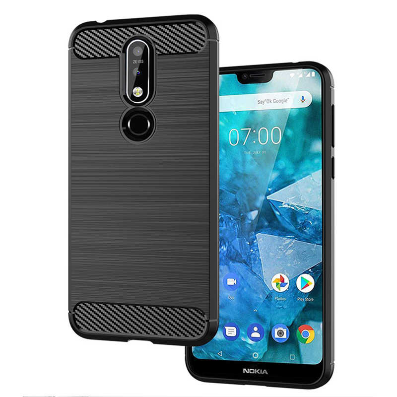 best website 7dbc6 39a6a For Nokia 7.1 Case Luxury Soft Armor TPU Silicone Cover Carbon Fiber Phone  Case For Nokia 8.1 7.1 6.1 Plus X7 Back Cover (E1019)