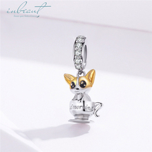 inbeaut Hot Sale 100% 925 Sterling Silver Yellow Enamel CZ fit Pandora Bracelet Dog Charms Little Puppy Beads Bangle DIY Jewelry