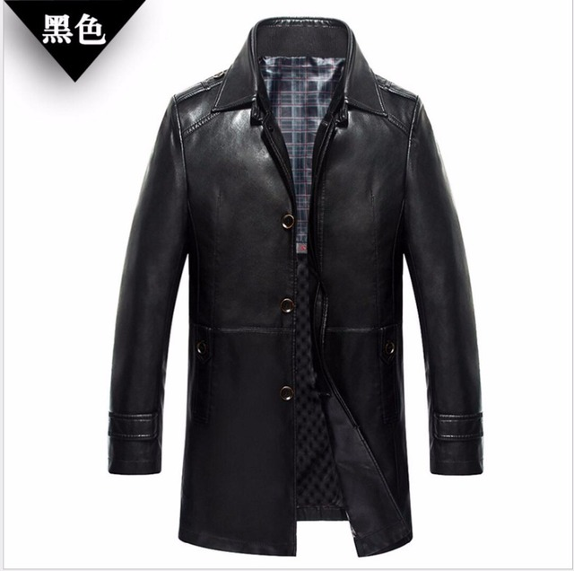 M-4XL 2016 Winter New Men's clothing Business casual faux leather coat thicken PU leather jacket middle-aged long leather trench