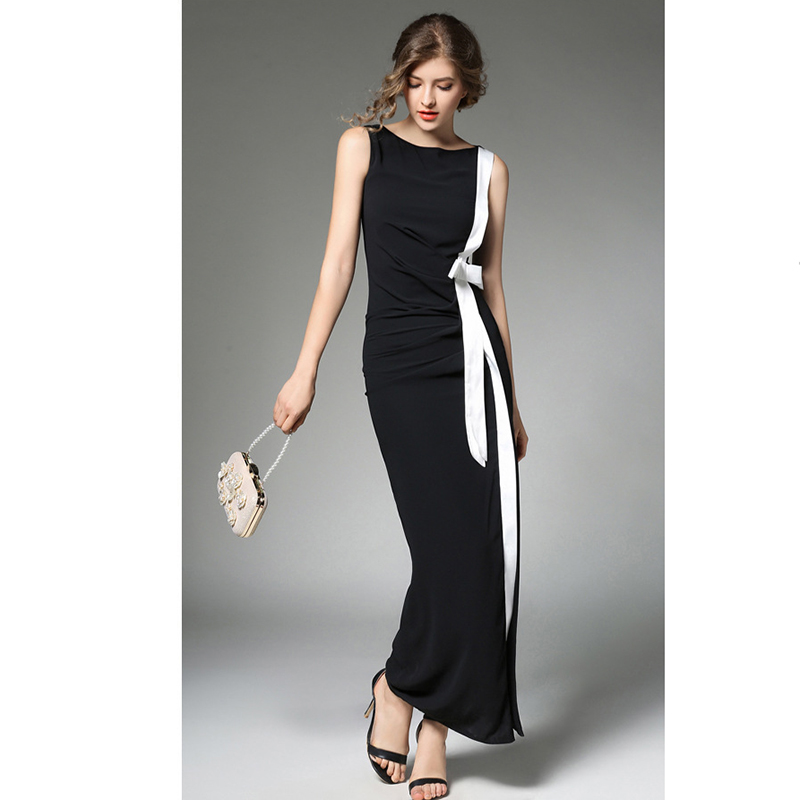 Olrain Women Sexy Long Dresses Black Party Summer Chiffon Striped Elegant  Sleeveless Split Bodycon Maxi Dress-in Dresses from Women s Clothing on ... 911e48318595