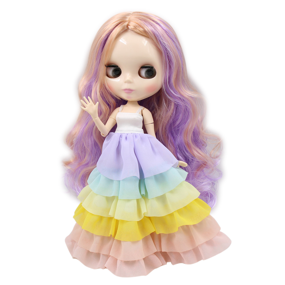 Dolls Dolls & Stuffed Toys Lovely Blyth Nude Doll 30cm White Skin Joint Body Long Curly Purple Mix Orange Hair No Bangs Diy Toy No.280bl7216/2023/136/3139 Goods Of Every Description Are Available