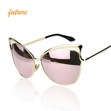 New Fashion Cat Eye luxury Sunglasses 2017 Women Brand Designer Twin-Beam Mirror colour options