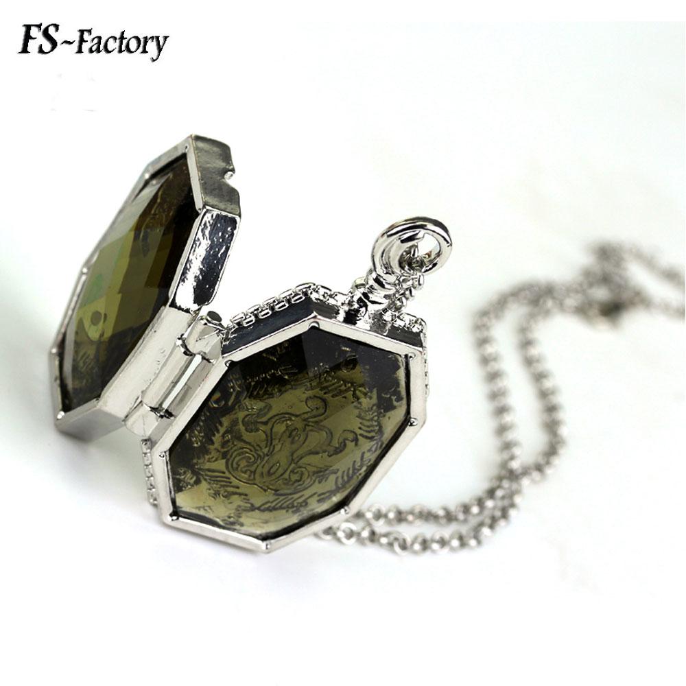 Moda jóias horcrux medalhão colar deathly hallows coletor pingente para presente feminino masculino