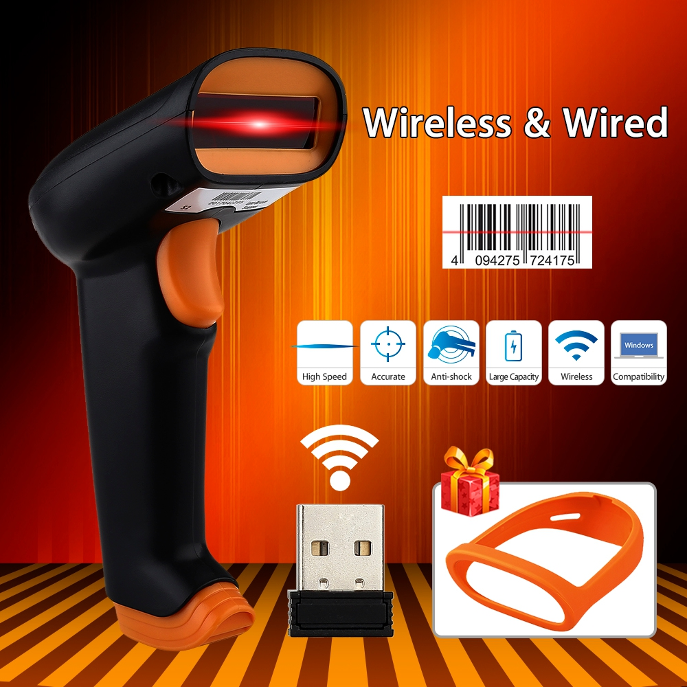 UEEVII S2 2.4G Up To 50m Wireless Barcode Scanner 2000mAh Bar Code Reader Laser Barcode Scanner Wireless Wired For Windows PC