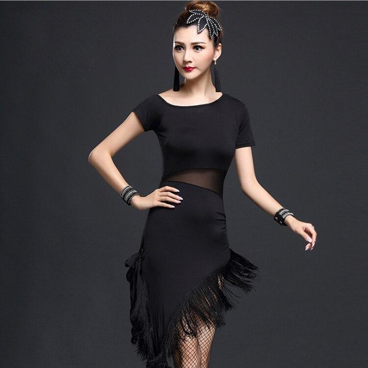 2017 hot lady Latin Dance Dress Salsa Samba Tango For Women Milk Fiber tassel skirt black blue red dance costume