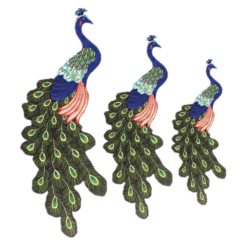Gold Thread Embroidery Peacock Cloth Stickers Parent-child Suit Cloth Applique Size Patch Decorative Clothing Stickers