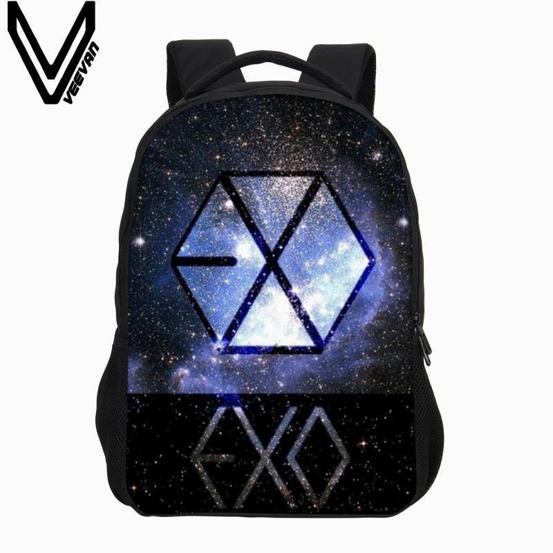 cb60906f06 VEEVANV Fashion Designer Cartoon Backpack 3D Printing Backpack Boys Cool  EXO Letter Bag School Mochila Children Shoulder Bag New