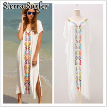 Saida De Praia Kaftan Beach Swimwear Cover Up Women Pareos For New Embroidered Dress Short Long Sleeve Cangas Salidas Playa Moda(China)