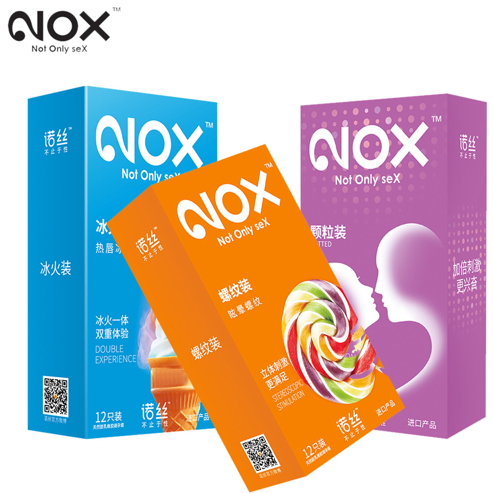 NOX 36Pcs/set Sex Products 52mm Penis Condoms for man Intimate Goods Multiple Experience Sex Toys Penis Sleeve Natural Latex