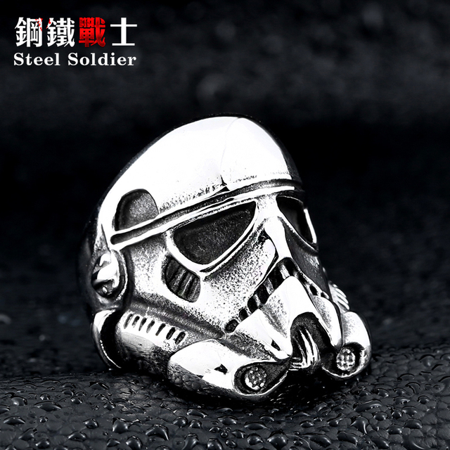 steel soldier new design stormtrooper men personality ring movie style star wars