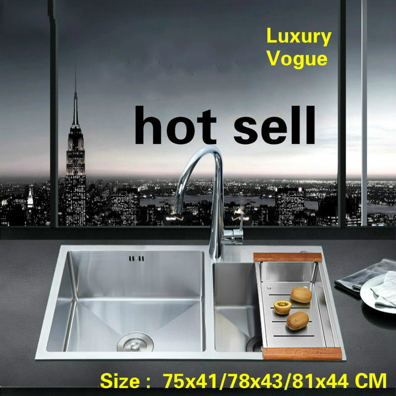 Free shipping Standard kitchen manual sink double groove food grade stainless steel durable hot selling 75x41/78x43/81x44 CMFree shipping Standard kitchen manual sink double groove food grade stainless steel durable hot selling 75x41/78x43/81x44 CM